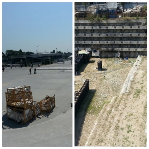 Hard to believe the #metro station on the left lies next to this #excavation site of what was #Longa #Bostan (famous for #cucumbers) on the right with a #well in the right corner dating back to the #Ottoman period. The right image will most likely be a parking lot in a few years.